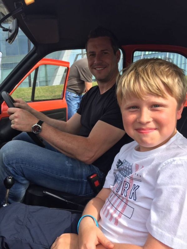 Ant Anstead with Harrison in the classic car